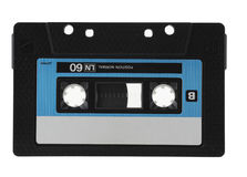 Tapes on white. Cassette with cassette tape tape isolated on white with clipping path Royalty Free Stock Photos