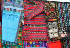Tapestries for Sale at the Street Market Royalty Free Stock Images