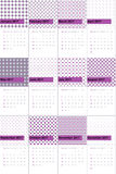 Tapestry and amethyst smoke colored geometric patterns calendar 2016. Tapestry and amethyst smoke geometric patterns calendar 2016 vector illustration