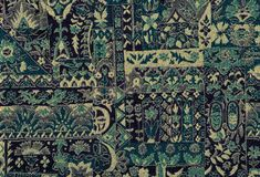 Tapestry blue textile pattern. Royalty Free Stock Image