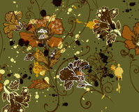Tapestry floral motif. Design with paint-splat detail Royalty Free Stock Photos