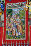 Antique tapestry of Gion festival float, Kyoto Japan. Royalty Free Stock Images