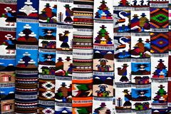 Tapestry at the market of Otavalo royalty free stock photos