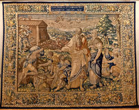 Tapestry Noahs Ark, Ca doro, Venice, Italy. Belgian Tapestry made in Brussels representing Noahs Ark in the Ca doro merchant palazzo in Venezia, Italia Royalty Free Stock Photos
