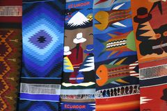 Tapestry in Otavalo. Otavalo Fair - tapestry Stock Photo