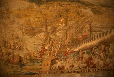 Tapestry, sailing ships. Loading trade goods,museum in Madrid, Spain Stock Images