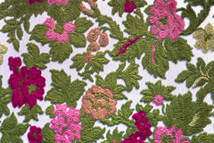 Tapestry textile pattern with floral ornament. Colorful retro tapestry textile pattern with floral ornament and flowers Stock Image