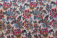 Tapestry textile pattern with floral ornament. Colorful retro tapestry textile pattern with floral ornament and flowers Royalty Free Stock Images