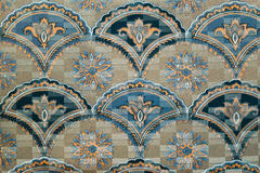 Tapestry textile pattern with floral ornament. Retro tapestry textile pattern with floral ornament and flowers Royalty Free Stock Images