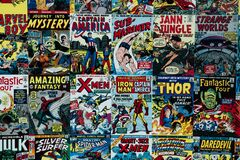 Free Tapestry With The Marvel Superhero Comics - Captain America Iron Man Thor X Men Royalty Free Stock Photos - 188369848