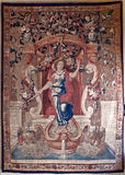Tapestry woman swane, Ca doro, Venice, Italy. Belgian Tapestry made in Brussels representing the source of life with a woman, swanes and a water source in the Ca stock image
