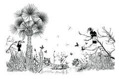 Tapet av ett tropiskt landskap royaltyfri illustrationer