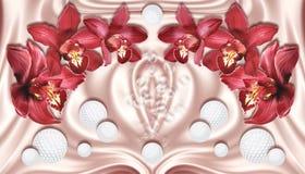 tapet 3d, röda orkidér och sfärer på siden- bakgrund vektor illustrationer