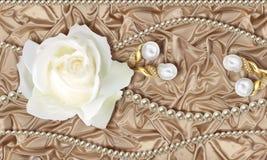 tapet 3D, vit ros, smycken och pärlor på beige siden- bakgrund stock illustrationer