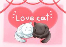 Tapet för bakgrund för förälskelsekatter rosa stock illustrationer