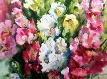 Tapet för hand för garnering för trädgård för blommor för modell för abstrakt bakgrund för vattenfärg blom- ljus suddig texturera stock illustrationer