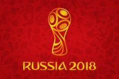 Tapet för världscup 2018 - världsfotbollturnering i R stock illustrationer