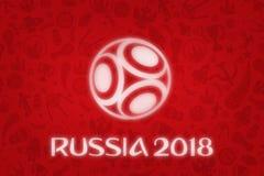 Tapet för världscup 2018 - världsfotbollturnering i R royaltyfria bilder