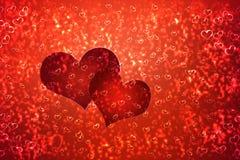 Tapet till valentin dag med röda hjärtor stock illustrationer