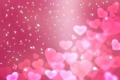 Tapet till valentin dag med rosa hjärtor vektor illustrationer