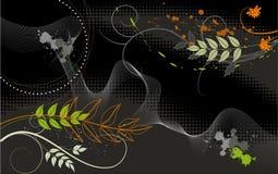 Tapet. Växter på en svart bakgrund stock illustrationer