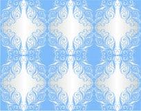 Tapeta. Kwiecisty ornament na srebrze i błękit Obraz Stock