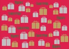 Tapetbakgrund Giftwrap för lycklig jul Fotografering för Bildbyråer