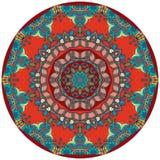 Tapete étnico do círculo com flor - mandala Placa decorativa do uzbek ilustração royalty free