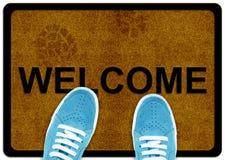 Tapete bem-vindo do pé da limpeza Fotografia de Stock Royalty Free