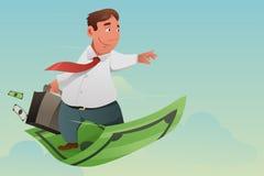 Tapete de Flying Off Money do homem de negócios Imagens de Stock