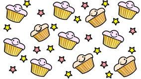 Tapete des kleinen Kuchens mit Sternen stock abbildung