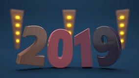 Tapete 2019 des neuen Jahr-4k rialstic 3d lizenzfreie abbildung