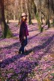 Tapete do açafrão na floresta e na jovem senhora da mola Foto de Stock Royalty Free