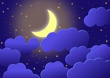 Tapete mit nächtlichem Himmel mit Flitterwochen im Halbmond, in den Wolken und in den Sternen vektor abbildung