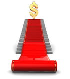 Tapete vermelho à concessão do dólar Fotografia de Stock
