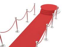 Tapete vermelho com barreira e cordas douradas Escadaria a falar ilustração 3D ilustração royalty free