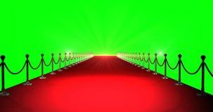 Tapete vermelho com os projetores contra o fundo verde ilustração do vetor