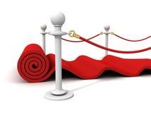Tapete vermelho de veludo do rolamento com postes de borracha Foto de Stock