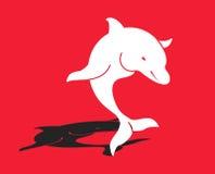 Tapete vermelho do golfinho branco ilustração do vetor