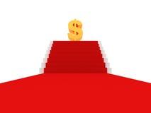 Tapete vermelho no escadas ao sinal de dólar dourado Imagens de Stock Royalty Free