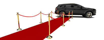 Tapete vermelho SUV Fotos de Stock