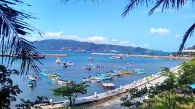 Tapeten-schöne Paradise-Ansicht über den Hafen lizenzfreies stockbild