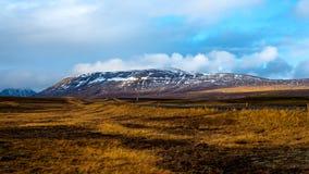 Tapetenansicht zu den Wiesen und zum schneebedeckten Hügel in Island stockfotografie