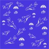 Tapetflygplan och dess last som vita konturer stock illustrationer
