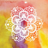 Tapetito de encaje elegante Mandala del ganchillo Foto de archivo