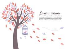 Tapetträdet är bladnedgång- och fågelburen Arkivfoto