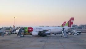 TAPEZ l'avion dans l'aéroport de Lisbonne Images libres de droits