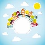 Tapezieren Sie Fahne mit Kleinstadt Lizenzfreie Stockbilder