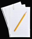 Tapezieren Sie Seitennotizbuch und -bleistift Stockbilder