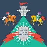 Tapfere Ritter in der modischen flachen Art stock abbildung